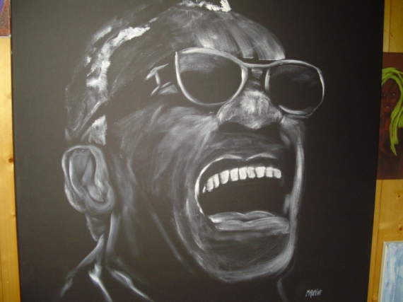 TABLEAU PEINTURE Personnages Acrylique  - Ray Charles