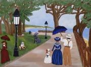 tableau scene de genre peinture naive peinture realisme pins penches ballade mer peintur : Peinture réaliste et naïf Carqueiranne en 1920 sous les pins pen