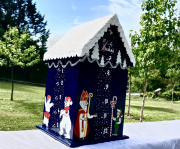 artisanat dart personnages calendar en bois christmas calendrier calendrier avent boi calendrier noel en b : REF/ 106*Christmas*Calendrier de l'avent*Bois peint *Toit enneig