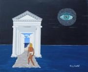 tableau scene de genre femme et oeil art surrealisme mer de nuit femme architecture mer et : Tableau/peinture Surréalisme Antinéa Déesse de la mer