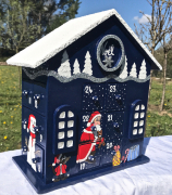 artisanat dart personnages calendar of advent santa claus calendrier avent boi calendrier de l : REF/ 101*Noël*Calendrier de l'Avent *Bois peint *TOIT ENNEIGE*Si