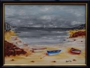 tableau marine marine peinture philippe bayot landelies : Trois barques