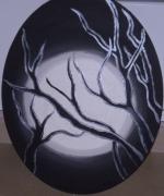 tableau abstrait branches noir blanc nacre : soir de lune
