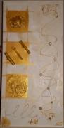 tableau abstrait tissu papier or bois : trio de carré or