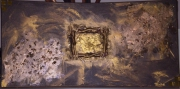 tableau abstrait bois papier mosaique or : le bois doré