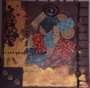 tableau abstrait collage papier verni trombonne : les petits papiers