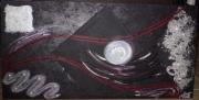 tableau abstrait billes rouge noir argent : le voyage de la boule d'argent