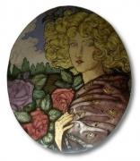 ceramique verre paysages art nouveau rose femme : Jeune femme aux roses