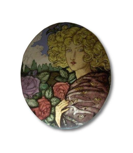 CéRAMIQUE, VERRE art nouveau rose femme Paysages  - Jeune femme aux roses