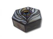 ceramique verre animaux art nouveau irise luxe : Plume de paon