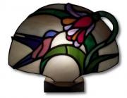 ceramique verre fleurs : Colibri et fleur