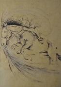tableau animaux aube cormost cheval expression : Noir et Or