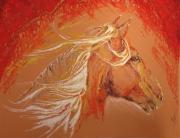 tableau animaux aube cormost cheval pensee : Couleur feu