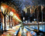 tableau villes parc eclairage new york pluie : CENTRAL PARK
