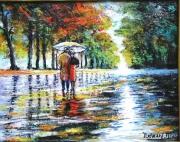 tableau personnages paysages pluie amoureux automnne : tendre pluie