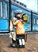 tableau personnages train enfants gare baiser depart : le baiser