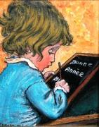 tableau personnages enfant ardoise ecriture : ECRITURE