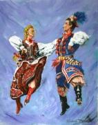 tableau personnages danseurs pologne polonais krakovie : krakowiak