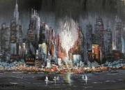 tableau villes ville passants new york nuit rivers : NEWYORK