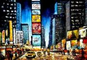 tableau architecture ville passants soir new york pluie : 7 IEM AVENUE