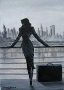 painting personnages new york dame valise bateau : N;Y