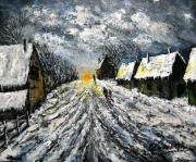 tableau villes vent neige village soleil couchant : NIVOSE