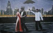 tableau personnages ville passants danse new york parapluie : balcon danse ny