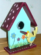 bois marqueterie animaux nichoir oiseaux fleurs maison : nichoir à oiseaux