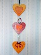 bois marqueterie autres coeur orange deco desing bois : coeurs orangés
