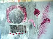 tableau abstrait arum framboise cercle carton : cortinaire : arums couleur framboise