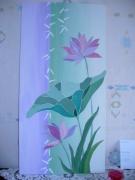 tableau fleurs violet fleurs vert acrylique : nénuphar