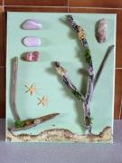 tableau marine marine coquillage bois flotte sable : sable doré 1
