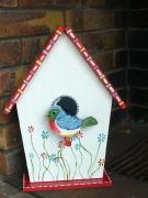 bois marqueterie animaux nichoir oiseau perchoir fleur : l'oiseau sur son perchoir