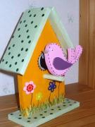 bois marqueterie animaux nichoir oiseaux fleurs maison : nichoir à oiseau