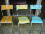 deco design fleurs chaise fleur ecole pop : relooking chaises d'école d'antan