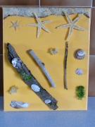 tableau marine coquillage sable bois flotte tableau : sable doré 3