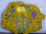 bois marqueterie fleurs provence lavande citron raisin : souvenirs de Provence