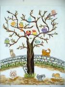 tableau animaux oiseaux chat arbre feuille : conciliabules