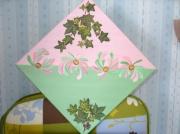 tableau fleurs rose fleurs vert : accroche lierre
