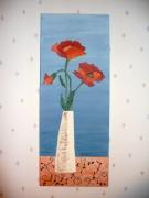 tableau fleurs fleur objet rouge bleu : jolies coquelicots