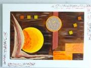 tableau abstrait abstrait orange dore imaginaire : ACANTHE