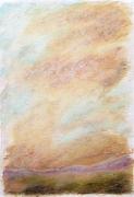 """dessin paysages art contemporain design pastel ,a l huil decoration : """"Paysage imaginaire 3"""" pastel gras aquarelle 14,7X21"""