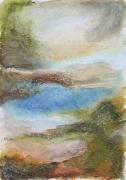 """dessin paysages art contemporain design decoration peinture : """"Paysage imaginaire 1"""" pastel gras et aquarelle"""