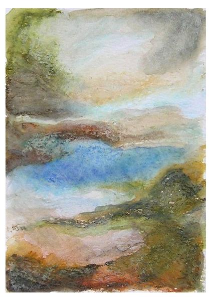 """DESSIN art contemporain design decoration peinture Paysages Aquarelle  - """"Paysage imaginaire 1"""" pastel gras et aquarelle"""