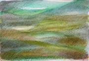 """dessin paysages art contemporain decoration design pastel ,a l huil : """"Paysage imaginaire 5"""" pastel gras aquarelle 14,7X21"""