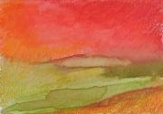 """dessin abstrait pastel ,a l huil art contemporain decoration design : """"Paysage imaginaire 7"""" 14,7X21"""