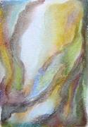 """dessin paysages art contemporain design decoration pastel ,a l huil : """"Paysage imaginaire 4"""" pastel gras aquarelle 14,7X21"""