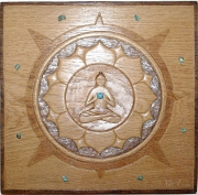 sculpture bouda turquoise mineraux lotus : Vishuddha