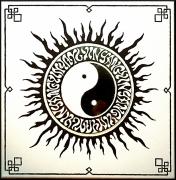 tableau autres yinyang boudhisme mandala noir : Contraste