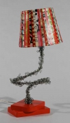 deco design autres lampe piece unique creation fil de fer luminaire : lampe rouge primaire